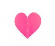 Coração de papel cor-de-rosa com a sombra isolada no branco imagens de stock