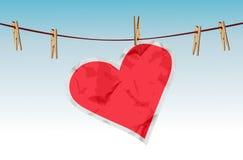 Coração de papel na corda Fotografia de Stock Royalty Free