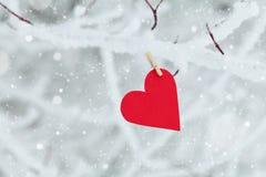 Coração de papel que pendura no ramo de árvore da neve para o dia de Valentim Fotografia de Stock Royalty Free