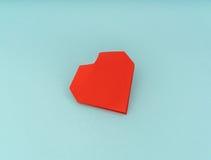 Coração de papel vermelho do origâmi no fundo azul Fotos de Stock Royalty Free