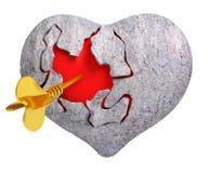 Coração de pedra quebrado com vermelho dentro dele, e de ` s do cupido seta, 3d com referência a Imagens de Stock