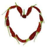 Coração de pimentas de pimentão Imagens de Stock
