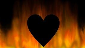 Coração de queimadura, silhueta preta nas chamas, fundo video abstrato do coração vídeos de arquivo