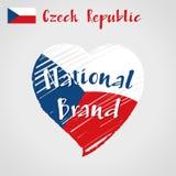 Coração de República Checa, tipo nacional da bandeira do vetor imagem de stock