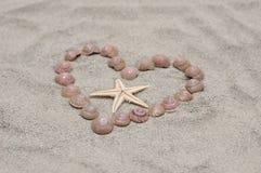 Coração de shell do mar na areia Imagens de Stock Royalty Free