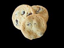 Coração de três cookies de biscoito amanteigado da passa dado forma fotos de stock