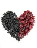 Coração de uvas-do-monte e de airelas secadas Fotografia de Stock Royalty Free