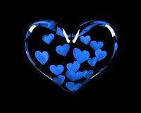 Coração de vidro com 14 corações azuis para dentro ilustração do vetor