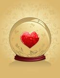 Coração de vidro com ornamento do ouro Fotografia de Stock Royalty Free