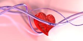 Coração de vidro nos fios. 3d Fotos de Stock