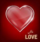 Coração de vidro transparente com AMOR Imagens de Stock Royalty Free