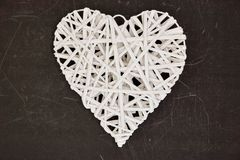 Coração de vime do amor Fotografia de Stock