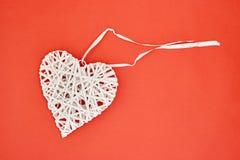 Coração de vime do amor Fotografia de Stock Royalty Free