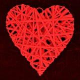 Coração de vime do amor Fotos de Stock