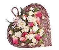 Coração decorativo cesta dada forma do feltro de lubrificação Fotografia de Stock