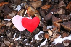 Coração decorativo na lenha Imagem de Stock Royalty Free