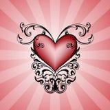 Coração decorativo no fundo cor-de-rosa. Fotografia de Stock