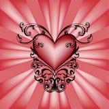 Coração decorativo no fundo vermelho. Imagem de Stock