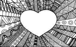 Coração decorativo romântico do quadro da página da coloração Imagens de Stock Royalty Free