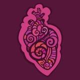 Coração decorativo Teste padrão étnico Fotografia de Stock Royalty Free