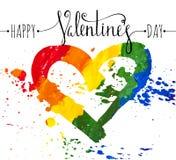 Coração desenhado à mão do arco-íris Imagem de Stock
