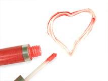 Coração desenhado com batom Fotografia de Stock Royalty Free