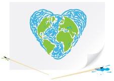 Coração desenhando do azul da terra verde Imagens de Stock Royalty Free