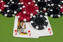 Coração do ás e do rei na tabela do póquer Fotos de Stock