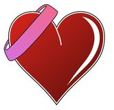 Coração do amor com fita Foto de Stock