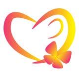 Coração do amor da borboleta Fotografia de Stock