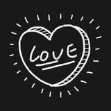 Coração do amor da garatuja Fotografia de Stock