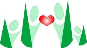 Coração do amor da preensão da família dos povos dos desenhos animados nas mãos Foto de Stock Royalty Free