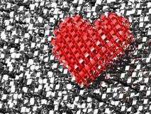coração do amor do tijolo 3D vermelho Imagens de Stock