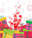 coração do amor e fundo dos presentes Foto de Stock Royalty Free