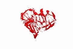 Coração do amor feito do respingo da cor vermelha Imagens de Stock