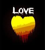 Coração do amor no incêndio Foto de Stock Royalty Free
