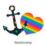 Coração do amor do símbolo e lgbt da âncora ilustração do vetor