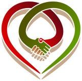 Coração do aperto de mão Fotografia de Stock