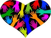 Coração do arco-íris da diversidade ilustração do vetor