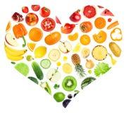 Coração do arco-íris das frutas e legumes Fotografia de Stock