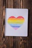 Coração do arco-íris do desenho Fotografia de Stock