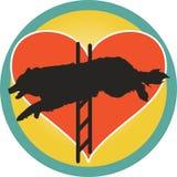 Coração do cão da agilidade ilustração do vetor