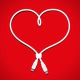 Coração do cabo do Usb Foto de Stock