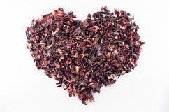 Coração do chá vermelho do hibiscus Fotografia de Stock Royalty Free