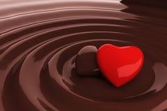 Coração do chocolate no chocolate quente Imagens de Stock Royalty Free