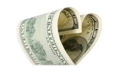 Coração do dólar Fotografia de Stock