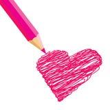 Coração do desenho de pastel Fotografia de Stock