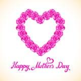 Coração do dia da mãe da rosa do rosa feito de rosas roxas no fundo branco Imagens de Stock Royalty Free