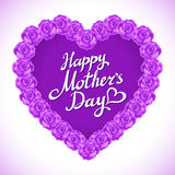 Coração do dia da mãe feito das rosas violetas ramalhete do coração violeta das rosas no fundo branco coração do dia da mãe da ro Imagem de Stock