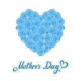Coração do dia da mãe feito de rosas azuis ramalhete do coração azul das rosas no fundo branco Fotos de Stock Royalty Free